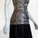 Sue Wong Strapless Black Shimmery Gold Silvery Ruched top Flapper Fringe skirt Drop waist