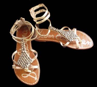 Sam Edelman Sandals Gladiator Flat Ankle straps Ginger 6 M Flats Silver Pewter  Strappy
