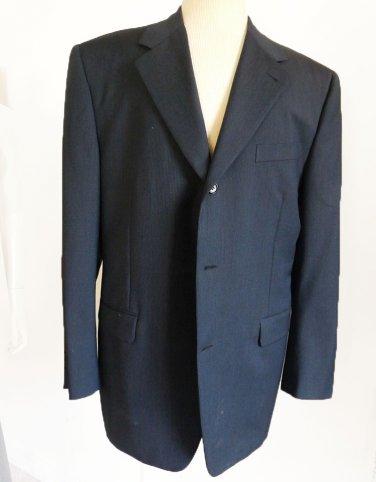 Canali Proposta Jacket Blazer 44 Dark blue Black stripes Wool Mohair