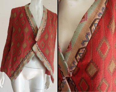 Zara  Basic Wrap Tapestry South Western Diamond shapes Tangerine open front Assymetricl hem
