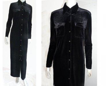 Laundry Shelli Segal Maxi Black Velvet dress Metal snap front Pockets S 8 Long sleeves