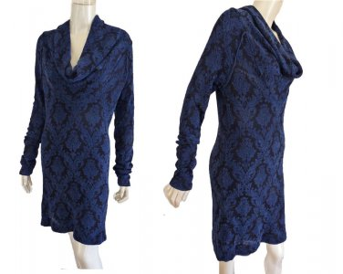Free People Dress Cowl neck Large Long Sleeves print Blue