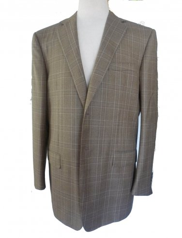 Ermenegildo Zegna Sportcoat Blazer Sz 56R  heather plaid tan 2 button front