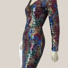 Sequined dress Oleg Cassini bodycon Black tie Rainbow colors scoop neck LS