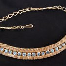 Vintage Sarah Coventry 1960s Choker Mesh Necklace Blue Rhinestone