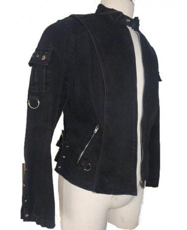 Tripp NYC black jacket size I / 40 metal full front metal zipper LS Daang Goodman  M Stretch