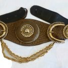 Cache belt Leather brown with Gold embellishments chains Crystals