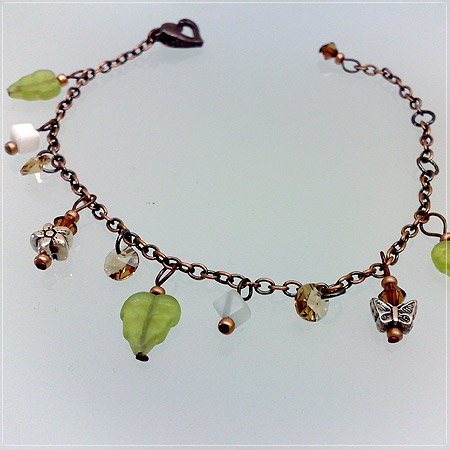Handmade Olive leaves bracelet charms