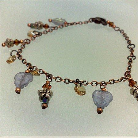 Handmade Triplet frosted Purplish leaves Charms Bracelet