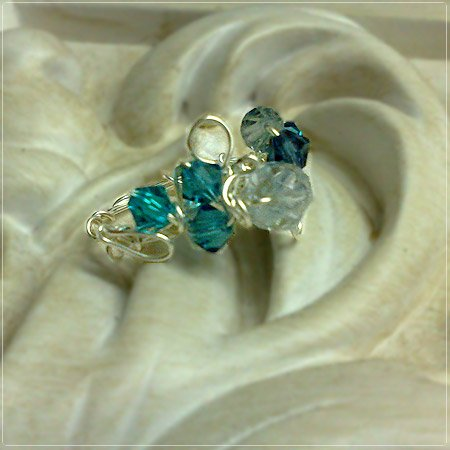 Handmade Wire-wrapped Crystals Blue Ring