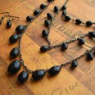 Black Bead Earring and Necklace
