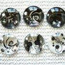 Black White Round Glass Magnet, Black White Color Fridge Magnet, Black White dec