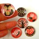 6pcs Red Brown Round Glass Magnet, Round Fridge Magnet, Glass Round Magnet