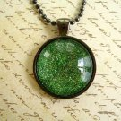 Green Color Necklace, Green Round Glass Necklace, Glass Green Color Necklace