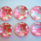 Bright Pink Color Round Glass Magnet, Round Pink Fridge Magnet, Pink Magnet