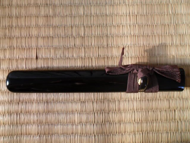 Brown Sageo Straight Piano Lacquered Black Saya Scabbard for Japanese Samurai Tanto Sword