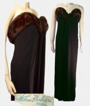 Paris Couture Vintage 50s HELENA BARBIERI ORIGINAL mink trim gown med