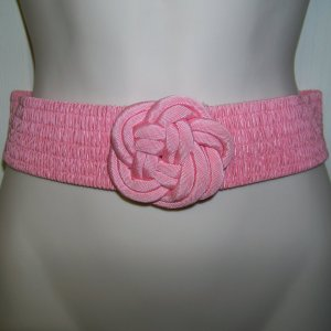 Belt pink elastic rose clasp 80s size small deadstock