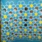 Seashells Miami 60s mini dress blue yellow daisies semi sheer med