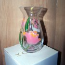 Lenox clear glass hand painted  butterflys vase