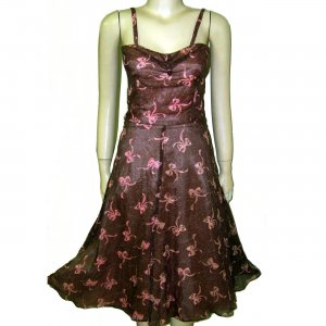 retro 40s sundress brown nylon over pink with bows so cute XS