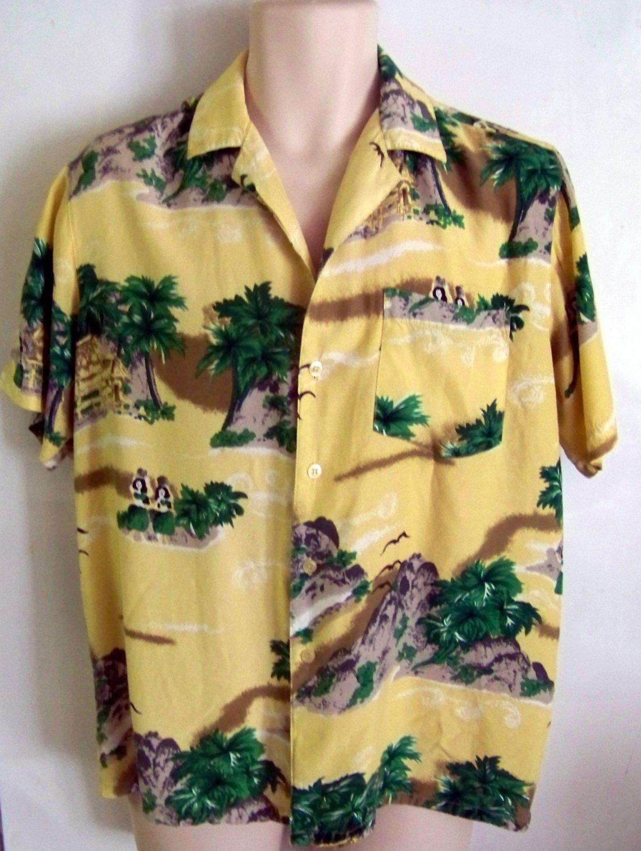 Mens shirt Vintage CALIFORNIA RAINBOW rayon hawaiian shirt hula girls large