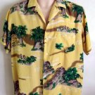 Mens shirt Vintage CALIFORNIA RAINBOW rayon hawaiian shirt hula girls large