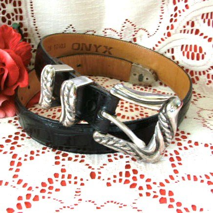 ONYX by Brighton Black Mock Alligator Leather Belt Size 26 XS