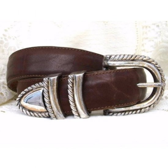 Brighton Brown Leather Belt Silver Rope Buckle Small