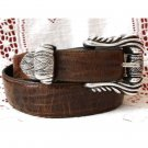 Onyx by Brighton Brown Mock Croc Belt Fancy Silver Buckle 28 Small
