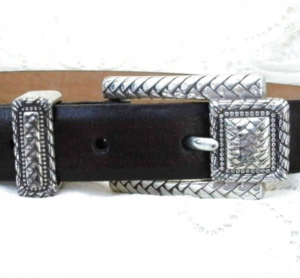 Brighton Dark Brown Leather Belt Silver Buckle Medium 30