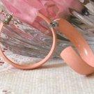 Vintage 80s Peach Colored Large Hoop Pierced Earrings