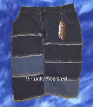 Moto Blues Collection Denim Stretch Skirt, Sz 24/25