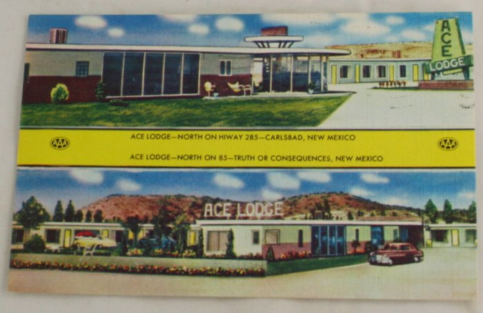 """""""Ace Lodge"""" VINTAGE POSTCARD Carlsbad New Mexico"""