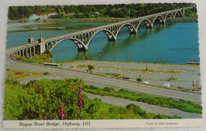 """Rogue River Bridge"" VINTAGE POSTCARD Gold Beach Oregon"