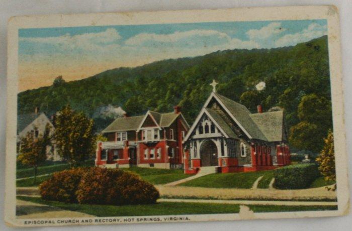 Hand Colored Postcard VINTAGE POSTCARD Warm Springs VA