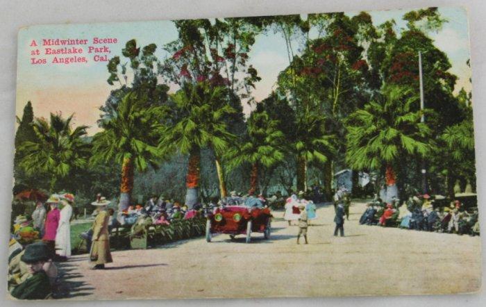 Hand Colored Postcard VINTAGE POSTCARD LA-Eastlake Park