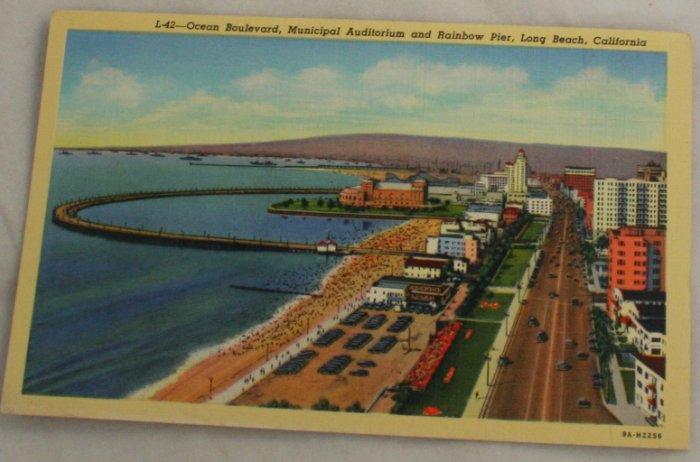 Linen Card-VINTAGE POSTCARD-Long Beach CA 1939