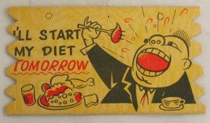 "Tag Novelty Comic Card ""I'll Start My Diet Tomorrow"""