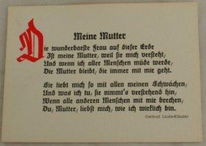 POSTCARD German-My Mother-Gertrud Linde-Klinder