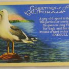 Linen Card-VINTAGE POSTCARD-California,Curteich 1938
