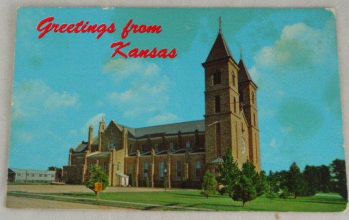 POSTCARD-USA,Kansas,Victoria, St. Fidelis Church