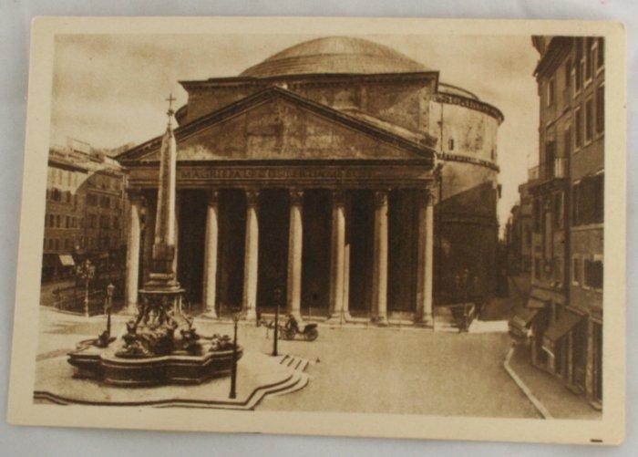 Sepia VINTAGE POSTCARD Italy-Rome-Roma-Pantheon Agrippa
