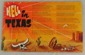 VINTAGE POSTCARD Comic- Hell in Texas Poem