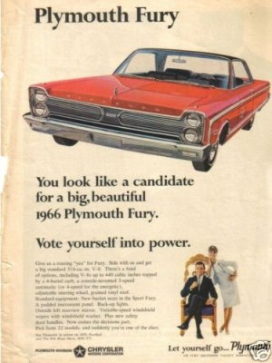 66 Plymouth Fury 1966 Magazine Ad