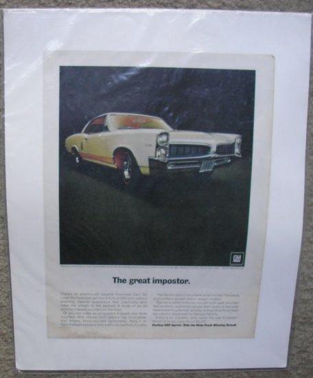 1967  Pontiac Sprint Option Color Magazine Ad