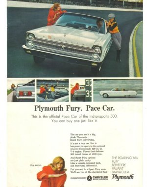 1965 Plymouth Sport Fury Pace Car Vintage Magazine Ad