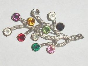 Van Dell Sterling Silver & Multi Rhinestones Brooch pin