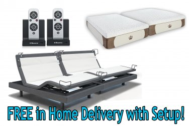 "Dynasty Mattress 12"" GEL Foam Mattress Reverie 8Q Adjustable Base-Split King w/SETUP w/Pillows"
