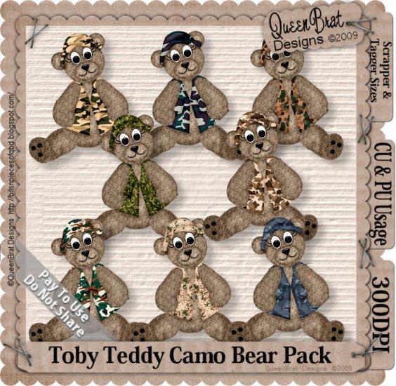 Toby Teddy Camo Bear Pack Scrapper